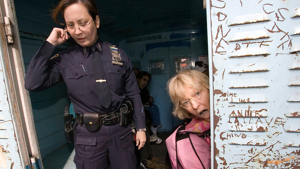 Members of the anti-war group Grandmothers Against the War are arrested after causing a civil disobedience in front of the the U.S. military recruitment center Monday 17 October 2005 in Times Square in New York. Eighteen senior citizens were arrested after they sat in front of the center's entrance and refused to move.