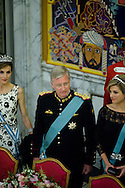 15.04.2015. Copenhagen, Denmark.Queen Leticia of Spain, King Philippe of Belgium and Queen Maxima of The Netherlands during a Gala Dinner at Christiansborg Palace on the eve of The 75th Birthday of Queen Margrethe of Denmark.Photo:© Ricardo Ramirez