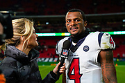 Houston Texans Quarterback Deshaun Watson (4) interviewed at the end of the game during the International Series match between Jacksonville Jaguars and Houston Texans at Wembley Stadium, London, England on 3 November 2019.