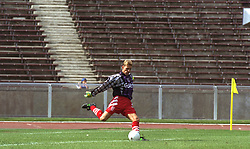 BERLIN, GERMANY - Sunday, August 7, 1994: Liverpool's goalkeeper Michael Stensgaard during a preseason friendly between Hertha BSC Berlin and Liverpool FC at the Olympiastadion. Liverpool won 3-0. (Pic by David Rawcliffe/Propaganda)