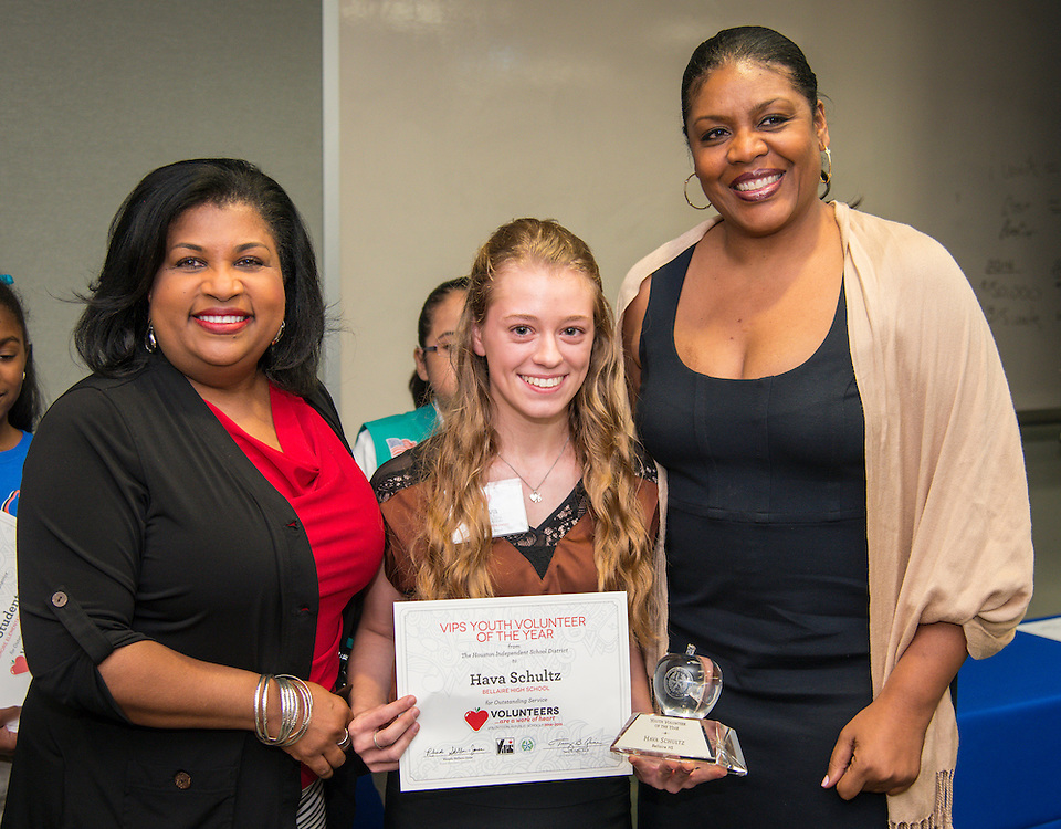 Hava Schultz is named the Youth Volunteer of the Year during Volunteers in Public Schools recognition ceremony, May 14, 2015.