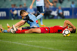 April 8, 2018 - Sydney, NSW, U.S. - SYDNEY, NSW - APRIL 8: Adelaide United forward George Blackwood (14) lays frustrated on the ground after failing to hit the target during the A-League Soccer Match between Sydney FC and Adelaide United on April 8, 2018 at Allianz Stadium in Sydney, Australia. (Photo by Speed Media/Icon Sportswire) (Credit Image: © Speed Media/Icon SMI via ZUMA Press)