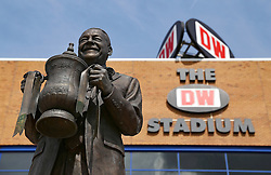 A general view of the Dave Whelan statue outside the DW Stadium - Mandatory by-line: Matt McNulty/JMP - 13/08/2017 - FOOTBALL - DW Stadium - Wigan, England - Wigan Athletic v Bury - Sky Bet League One