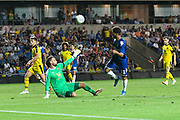 Tyler Roberts (11) of Leeds United shoots at goal but is offside during the Pre-Season Friendly match between Oxford United and Leeds United at the Kassam Stadium, Oxford, England on 24 July 2018. Picture by Graham Hunt.
