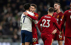 LONDON, ENGLAND - Saturday, January 11, 2020: Liverpool's Adam Lallana (R) shakes hands with Tottenham Hotspur's Heung-Min Son after the FA Premier League match between Tottenham Hotspur FC and Liverpool FC at the Tottenham Hotspur Stadium. Liverpool won 1-0. (Pic by David Rawcliffe/Propaganda)