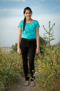 Bat Mitzvah girl on the Titora Hill, Modiin, Israel. Portrait Photography by Debbie Zimelman, Modiin, Israel.