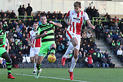 Harry Pell and Lee Collins during the EFL Sky Bet League 2 match between Forest Green Rovers and Cheltenham Town at the New Lawn, Forest Green, United Kingdom on 25 November 2017. Photo by Antony Thompson.
