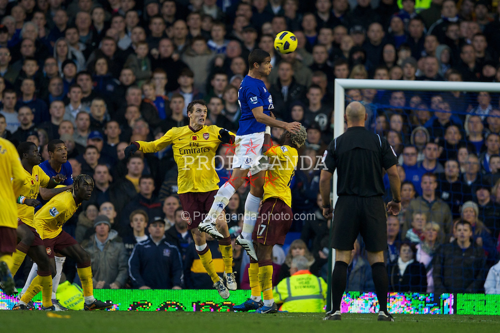 LIVERPOOL, ENGLAND - Sunday, November 14, 2010: Everton's Jack Rodwell in action against Arsenal during the Premiership match at Goodison Park. (Photo by: David Rawcliffe/Propaganda)