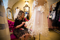 Zagreb, Croatia- May, 2015: Sisters Morana Saracevic and Martina Cicko-Karapetric have opened a boutique store on the site of millinery run by the their grandmother. The trendy boutique risdes off the historic cobblestone Radiceva Street  showcases their designs, which heavily incorporate lace, silk and satin. CREDIT: Chris Carmichael for The New York Times