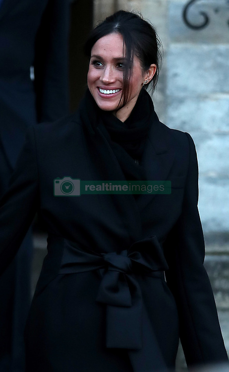 Meghan Markle leaves Cardiff Castle in Wales. Thursday January 18 2018.