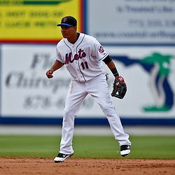 March 6, 2011; Port St. Lucie, FL, USA; New York Mets second baseman Ruben Tejada (11) during a spring training exhibition game against the Boston Red Sox at Digital Domain Park. The Mets defeated the Red Sox 6-5.  Mandatory Credit: Derick E. Hingle