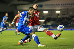 Brighton's Liam Rosenior passes under pressure from Bristol City's Derrick Williams - Mandatory byline: Jason Brown/JMP - 07966 386802 - 20/10/2015 - FOOTBALL - American Express Community Stadium - Brighton,  England - Brighton & Hove Albion v Bristol City - Championship