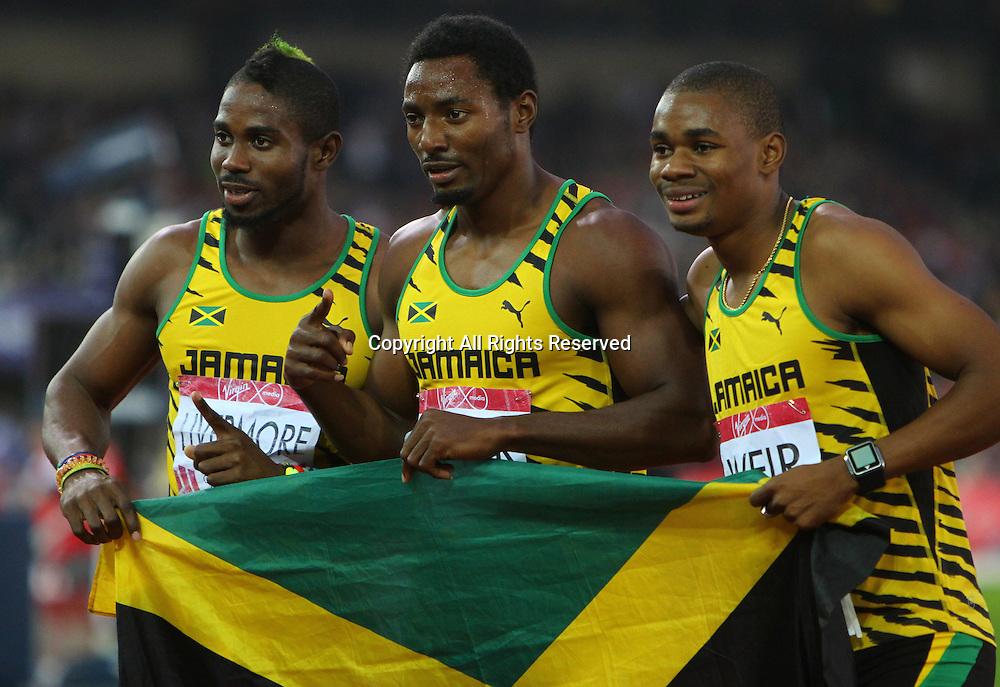 31.07.2014. Glasgow, Scotland. Glasgow Commonwealth Games. Men's 200m final from Hampden Park. Rasheed Dwyer, Warren Weir and Jason Livermore celebrate Jamaica winning gold, silver and bronze