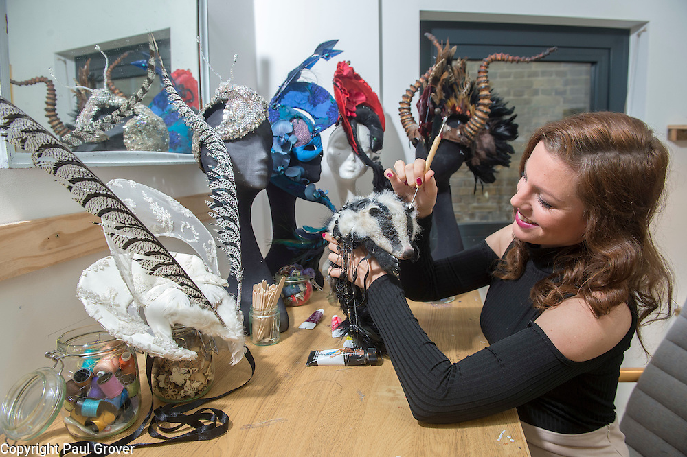 Milliner Natalie Ellner pictured in her studio putting the finishing touches to the 11 headpieces that she is supplying to the Animal Ball 2016 to be worn by all corners of British society,Natalie and 40 leading fashion houses dress each set of guests with spectacular animal masks and headgear at the Animal Ball 2016 on November 22nd, the world's greatest fashion houses will collaborate to dress a bestiary of beautiful creatures from all corners of British society to celebrate and protect nature's greatest masterpieces.