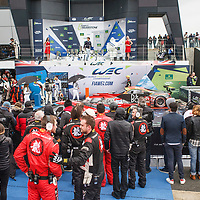 Parc ferme with podium at FIA WEC 6 Hours of Silverstone 2017, Silverstone International Circuit, on 16.04.2017