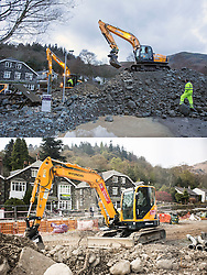 © Licensed to London News Pictures. 11/05/2016. Glenridding UK. FIVE MONTH COMPARISON OF FLOODED VILLAGE OF GLENRIDDING. Top picture taken 10/12/2015 shows diggers dredging the Glenridding beck during storm Desmond in December. Bottom picture taken 10/05/2016 shows diggers working on flood defences in Glenridding five months after storm Desmond. The diggers are still in the village of Glenridding five months after storm Desmond hit the area & flooded the village three times last December. Residents of the village have become frustrated at the Environment Agency after it took almost four months for the agency to start work on new flood defences leaving the village looking like a building site during the normally busy tourist period essential to get the area back on it's feet. Photo credit: Andrew McCaren/LNP