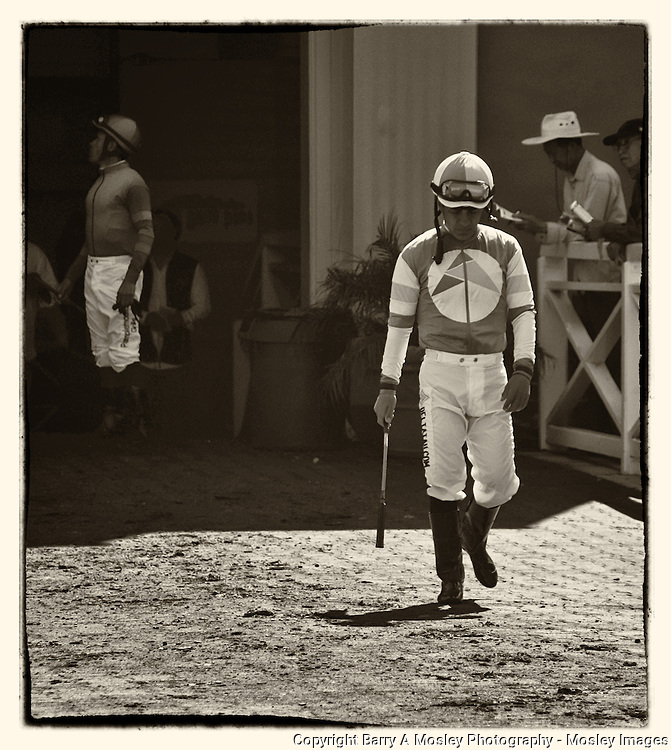 Victor Espinoza - Pre-Race thoughts, Santa Anita Race Track, Arcadia, California, photo by Barry A Mosley Photography.