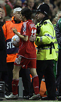 Photo: Paul Thomas/Sportsbeat Images.<br /> Liverpool v Besiktas. UEFA Champions League. 06/11/2007.<br /> <br /> Yossi Benayoun of Liverpool leaves the pitch with the match ball after scoring 3 goals.