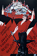 Welcome Comrades! Long Live the Third Internationale', 1920. Soviet propaganda poster by Dmitry Moor (Orlov).  Russia USSR  Communism Communist