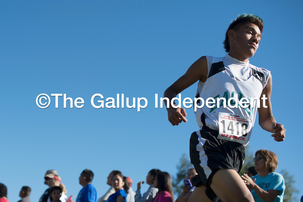 110714      Cayla Nimmo<br /> <br /> Pinon Eagle Joe Androno finishes in first place in division four with a time of 16 minutes and 24 seconds in the Arizona state cross country tournament Phoenix Saturday.