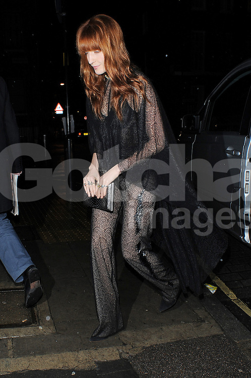 Florence Welch arrives at the Love Magazine Christmas party in London. UK. 17/12/2013<br />BYLINE MUST READ : GOTCHAIMAGES.COM<br /><br />Copyright by &copy; Gotcha Images Ltd. All rights reserved.<br />Usage of this image is conditional upon the acceptance <br />of Gotcha Images Ltd, terms and conditions available at<br />www.gotchaimages.com