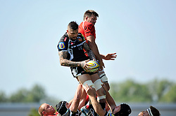 Ryan Caldwell (Exeter Chiefs) wins lineout ball - Photo mandatory by-line: Patrick Khachfe/JMP - Mobile: 07966 386802 06/09/2014 - SPORT - RUGBY UNION - Oxford - Kassam Stadium - London Welsh v Exeter Chiefs - Aviva Premiership