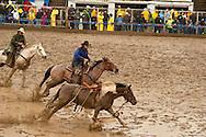 Pickup men Kyle and Jay Shaw, saddle bronc, Miles City Bucking Horse Sale, Montana