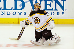 June 4, 2011; Vancouver, BC, CANADA; Boston Bruins goalie Tuukka Rask (40) warms up before game two of the 2011 Stanley Cup Finals against the Vancouver Canucks at Rogers Arena. Vancouver defeated Boston 3-2 in overtime. Mandatory Credit: Jason O. Watson / US PRESSWIRE