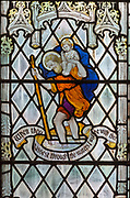Stained glass window of Saint Christopher, Saint Thomas church, Salisbury, Wiltshire, England, 1920, by James Powell and Sons