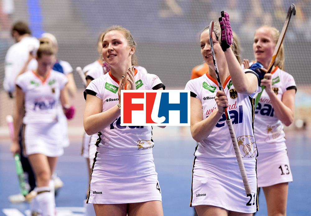BERLIN - Indoor Hockey World Cup<br /> Women: Ukraine - Germany<br /> foto: Franzisca Hauke and Nike Lorenz.<br /> WORLDSPORTPICS COPYRIGHT FRANK UIJLENBROEK