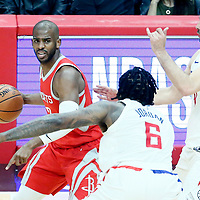 28 February 2018: LA Clippers center DeAndre Jordan (6) defends on Houston Rockets guard Chris Paul (3) during the Houston Rockets 105-92 victory over the LA Clippers, at the Staples Center, Los Angeles, California, USA.