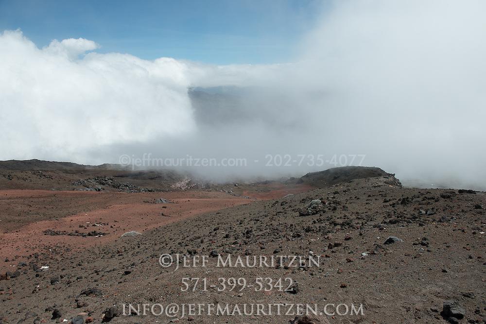 The volcanic landscape of Cotopaxi volcano in Ecuador.