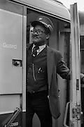 British Rail guard on train.