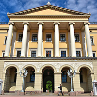 Norwegian Royal Palace Close Up View in Oslo, Norway <br />