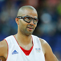 08 August 2012: France Tony Parker smiles during 66-59 Team Spain victory over Team France, during the men's basketball quarter-finals, at the 02 Arena, in London, Great Britain.