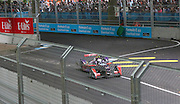 Sam Bird going through the chicane in front a packed out crowd during the FIA Formula E Visa London ePrix  at Battersea Park, London, United Kingdom on 28 June 2015. Photo by Matthew Redman.