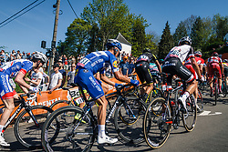 Peloton with ALAPHILIPPE Julian of Quick-Step Floors during 2nd lap on Mur de Huy at the 2018 La Flèche Wallonne race, Huy, Belgium, 18 April 2018, Photo by Thomas van Bracht / PelotonPhotos.com | All photos usage must carry mandatory copyright credit (Peloton Photos | Thomas van Bracht)