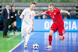 Michal Kubik of Poland and Dmitri Lyskov of Russia during futsal match between Russia and Poland at Day 1 of UEFA Futsal EURO 2018, on January 30, 2018 in Arena Stozice, Ljubljana, Slovenia. Photo by Ziga Zupan / Sportida