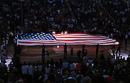 Sep 11, 2011; Phoenix, AZ, USA; A giant American flag covers the court before the game between the Phoenix Mercury and the Minnesota Lynx at the US Airways Center.  Mandatory Credit: Jennifer Stewart-US PRESSWIRE