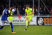 Simon Heslop (8) of York City has a pass blocked by Reda Johnson (27) of Eastleigh during the Vanarama National League match between Eastleigh and York City at Arena Stadium, Eastleigh, United Kingdom on 12 November 2016. Photo by Graham Hunt.
