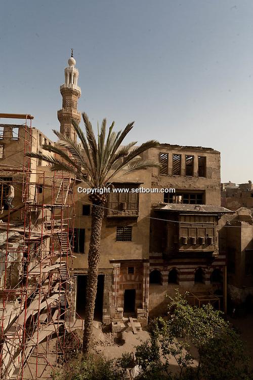 Egypt. Cairo -palace BAYT Ahmad Katkhuda AR RAZZAZ under renovation in Darb al Ahmar  street, islamic Cairo  NM235 +