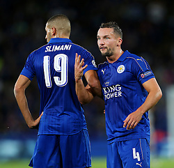 Daniel Drinkwater of Leicester City lines up the wall with Islam Slimani  - Mandatory by-line: Matt McNulty/JMP - 27/09/2016 - FOOTBALL - King Power Stadium - Leicester, England - Leicester City v FC Porto - UEFA Champions League