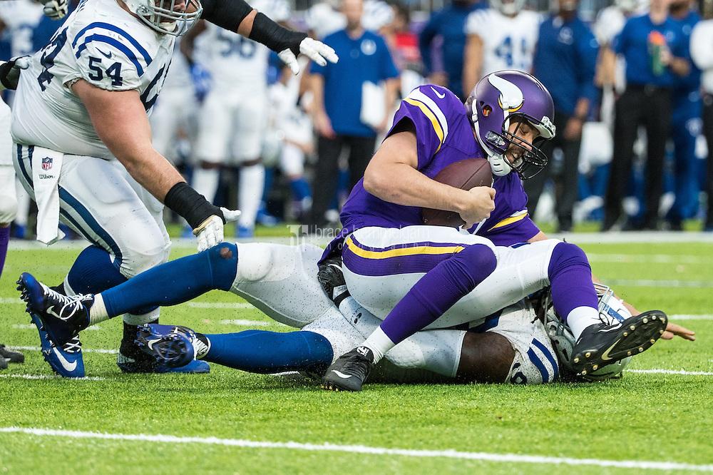 Dec 18, 2016; Minneapolis, MN, USA; Minnesota Vikings quarterback Sam Bradford (8) is sacked by Indianapolis Colts linebacker Erik Walden (93) during the third quarter at U.S. Bank Stadium. The Colts defeated the Vikings 34-6. Mandatory Credit: Brace Hemmelgarn-USA TODAY Sports