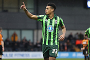 he does it again Lyle Taylor of AFC Wimbledon 13th goal of the season during the Sky Bet League 2 match between Barnet and AFC Wimbledon at Underhill Stadium, London, England on 20 February 2016. Photo by Stuart Butcher.