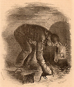 The Rat-Catchers of the Sewers.  Rat catchers were vital to keeping down the rat population in the London sewers.  The rat catcher is using a candle with a simple wind shield to give him enough light to carry out his work.  Engraving from 'London Labour and the London Poor' by Henry Mayhew (London, 1861).
