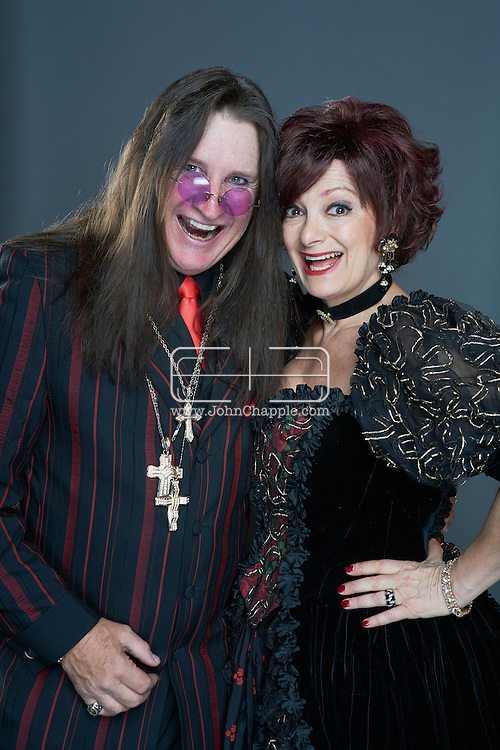 February 22, 2016. Las Vegas, Nevada.  The 22nd Reel Awards and Tribute Artist Convention in Las Vegas. Celebrity lookalikes from all over the world gathered at the Golden Nugget Hotel for the annual event. Pictured is Sharon and Ozzy Osbourne lookalike, Caroline Bernstein and Don Rugg.<br /> Copyright John Chapple / www.JohnChapple.com /