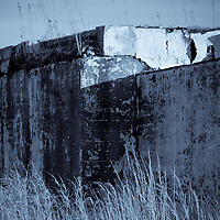 Selenium toned black and white image of a decaying WWII gun battery that was part of Fort Miles and located at Herring Point, Cape Henlopen State Park, Lewes, Delaware