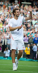 LONDON, ENGLAND - Monday, June 25, 2012: Ernests Gulbis (LAT) celebrates winning during the Gentleman's Singles 1st Round match on the opening day of the Wimbledon Lawn Tennis Championships at the All England Lawn Tennis and Croquet Club. (Pic by David Rawcliffe/Propaganda)