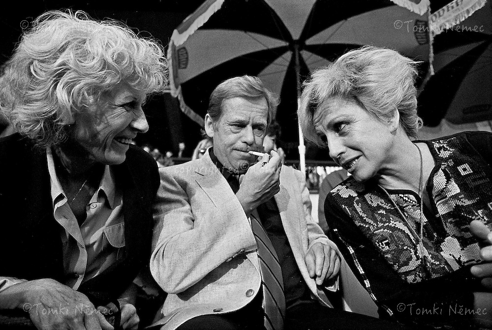 Olga Havel and Václav Havel and Vera Caslavska (Vera Caslavska )on the concert of The Rolling Stones in Prague, August, 1990. The Rolling Stones visited Czechoslovakia first time and the concert on Strahov stadium was one of the biggest experience after Velvet revolution in Czechoslovakia.
