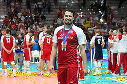 September 30, 2018 - Turin, Piedmont, Italy - Grzegorz Lomacz of Poland celebrate the World Cup victory after the final match between Brazil and Poland for the FIVB Men's World Championship 2018 at Pala Alpitour in Turin, Italy, on 30 September 2018. Poland won 3: 0 and it is confirmed world champion. (Credit Image: © Massimiliano Ferraro/NurPhoto/ZUMA Press)